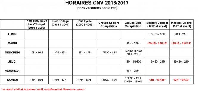 Horaires cnv 2016 2017