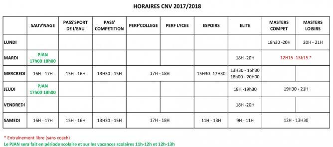 Horaires cnv 2018